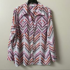 Kim Rogers Curvy Graphic Patterned Top